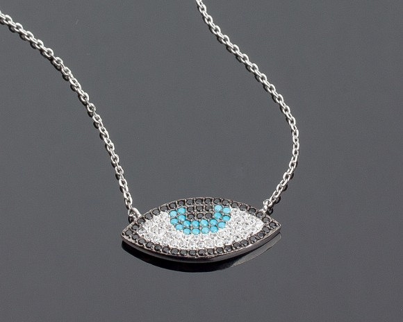 Silver Evil Eye Necklace - Charm Necklace