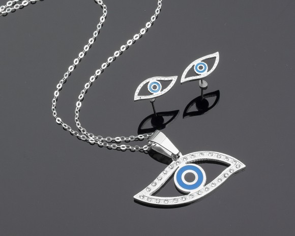 Long Evil Eye Necklace - Evil Eye Earrings