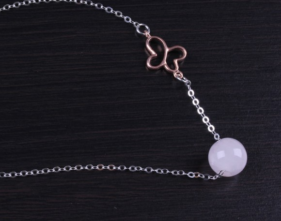 "Rose Quartz Necklace, Butterfly Necklace / Bridesmaid Necklace, Rose Quartz Jewelry / Gemstone Necklace, Butterfly Jewelry | ""Lips"""