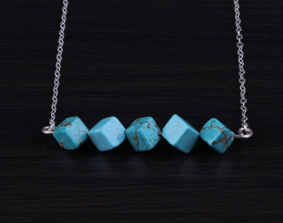 "Turquoise Beaded Necklace, Square Bead Necklace / Silver Turquoise Necklace, Bridal Necklace / Turquoise Stone Necklace | ""Amphitrite"""