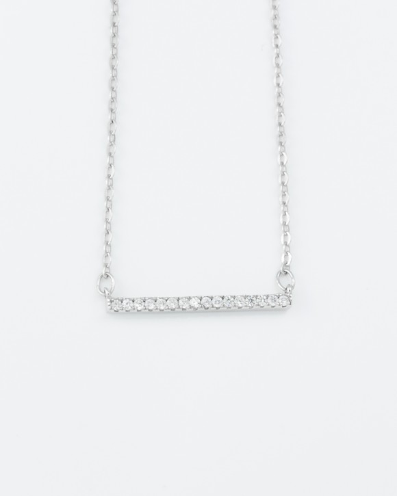 Silver Bar Necklace • CZ Bar Necklace
