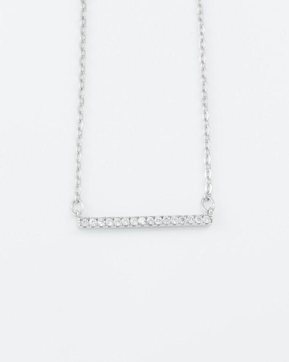 Silver Bar Necklace • CZ Bar Necklace