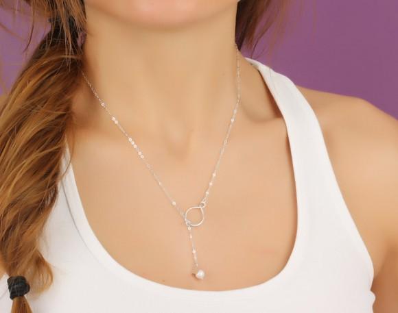 "Infinity Necklace, Infinity Lariat Necklace / Silver Pearl Necklace, Heart Pendant / Bridesmaid Pendant, Best Friend Necklace | ""Eleus"""