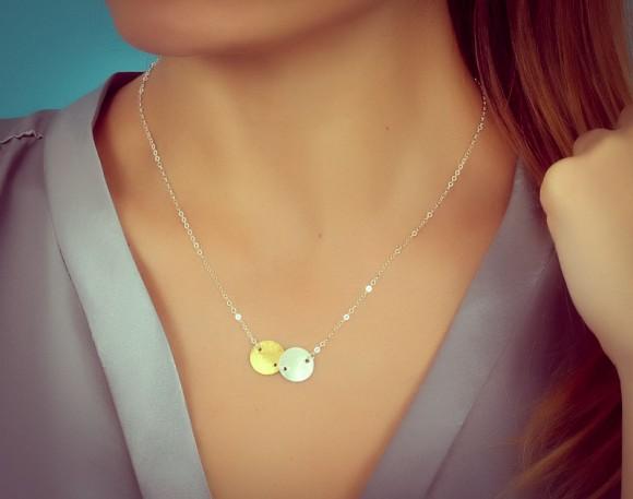 "Silver Disc Necklace, Double Disc Necklace / Modern Contemporary Necklace, Bridesmaid Necklace | ""Maera"""