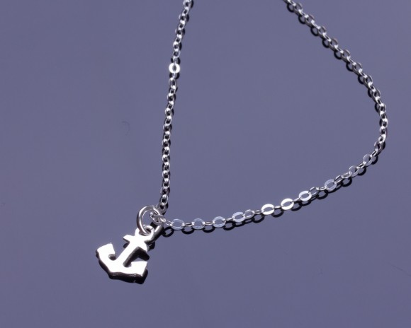 """Silver Anchor Necklace, Sterling Silver Necklace Anchor Necklace, Tiny Anchor Necklace, Nautical Jewelry, Sterling Silver Jewelry, """"Proteus"""