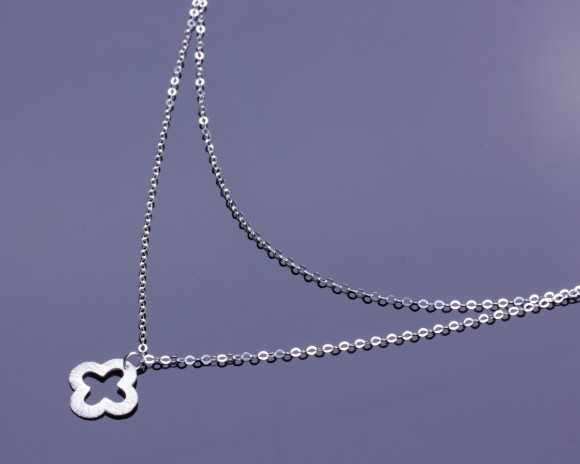 "Sterling Silver Clover Necklace, Silver Double Strand Necklace / Clover Necklace, Silver Necklace / Lucky Necklace | ""Ptelea"""