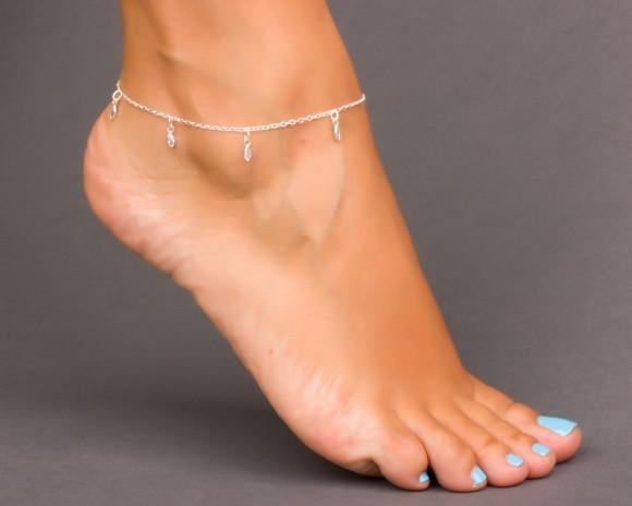Anklets in Silver - Crystal Anklet