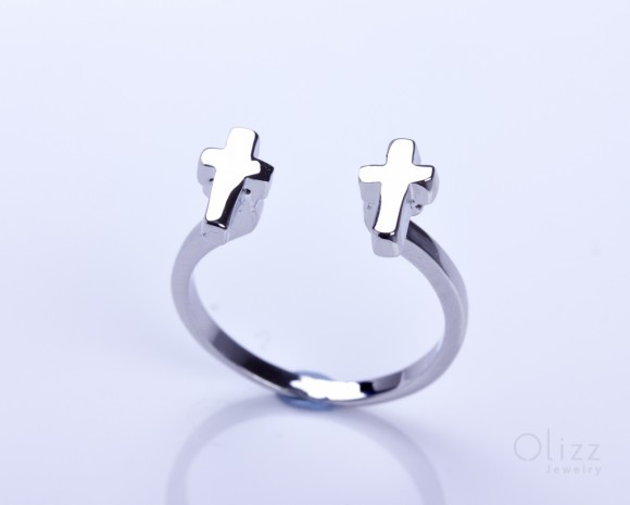 "Tiny cross ring, double cross ring, silver cross ring, adjustable ring, silver plated ring, everyday ring, simple jewelry, ""Zeuxippe"""