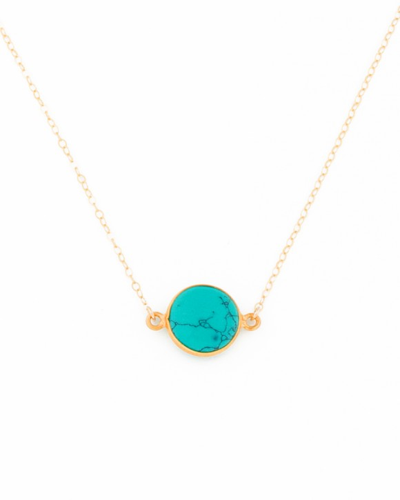 Gold Turquoise Necklace • Bohemian Jewelry