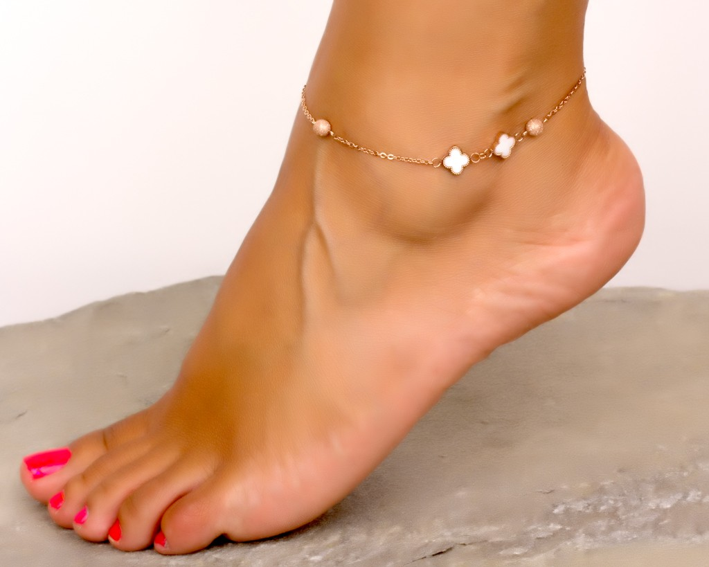 Rose Gold Ankle Bracelet Clover Stainless Steel Jewelry Bridesmaid Gift Beach Wedding Foot Jacchus