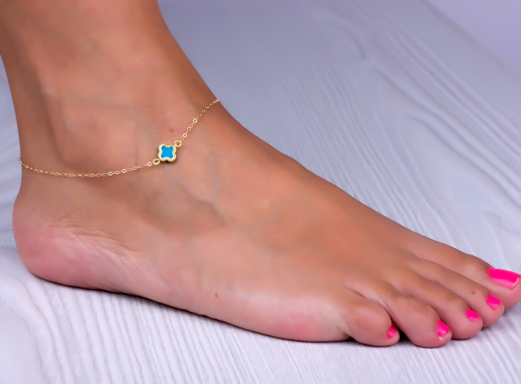 Clover Anklet Turquoise Good Luck Foot Jewelry Gold Ankle Bracelet