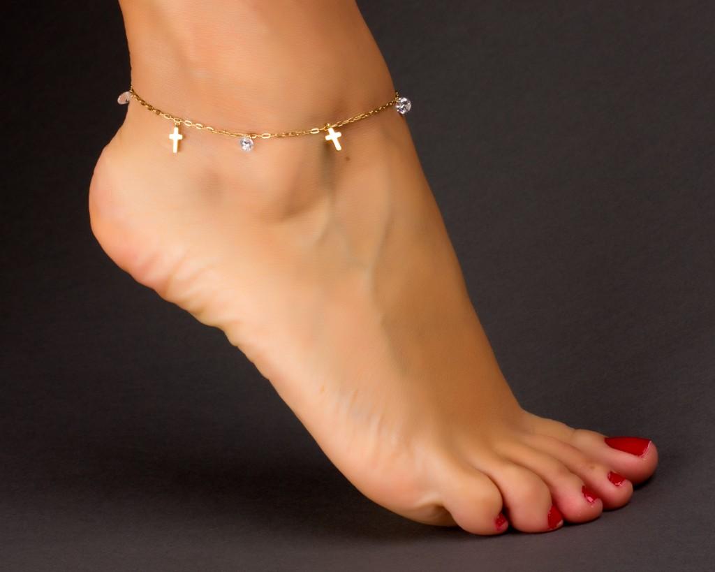 Cross Anklet - Crystal Anklet - Rose Gold Ankle Bracelet