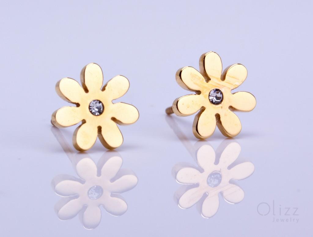 Gold Flower Stud Earrings Tiny Studs Silver Daisy