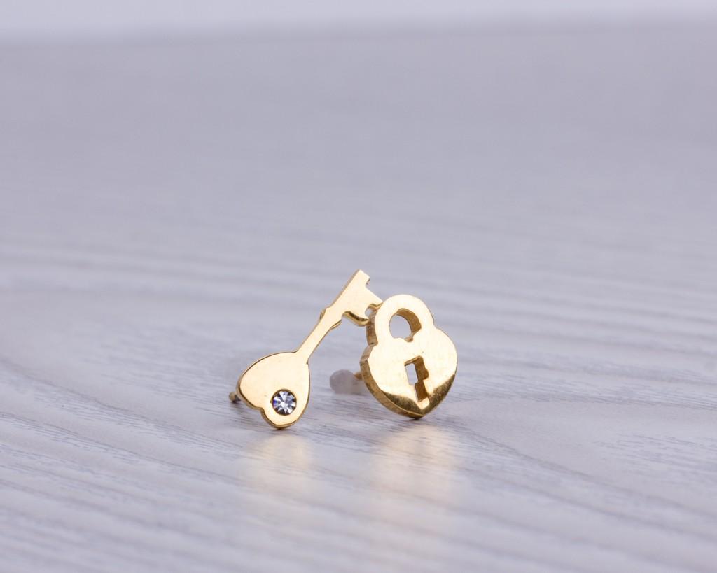 Tiny Stud Earrings Key Locket Gold