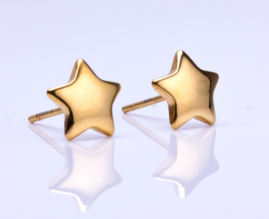 Star Stud Earrings Gold Shooting