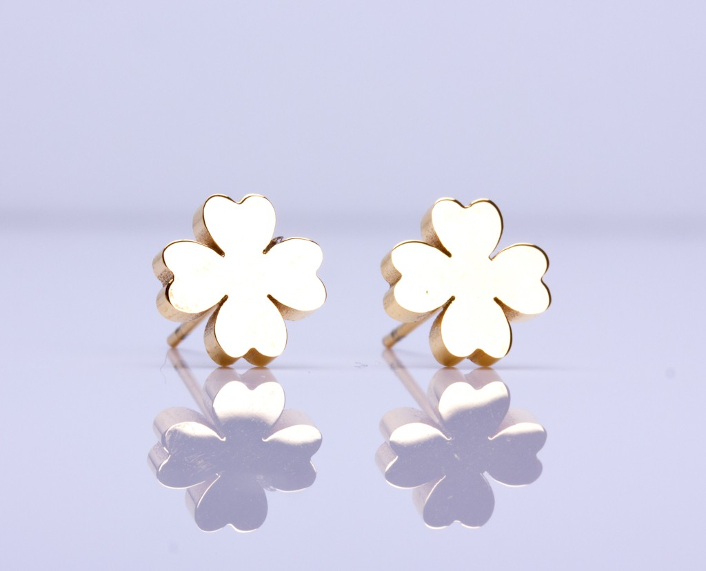 Gold Clover Earrings Stud Four Leaf Good Luck