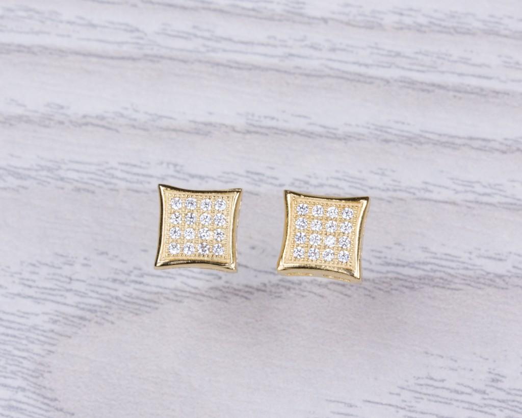 27bdd92493ee1c Diamond shaped stud earrings, cubic zirconia stud earrings, square earrings,  gold stud earrings