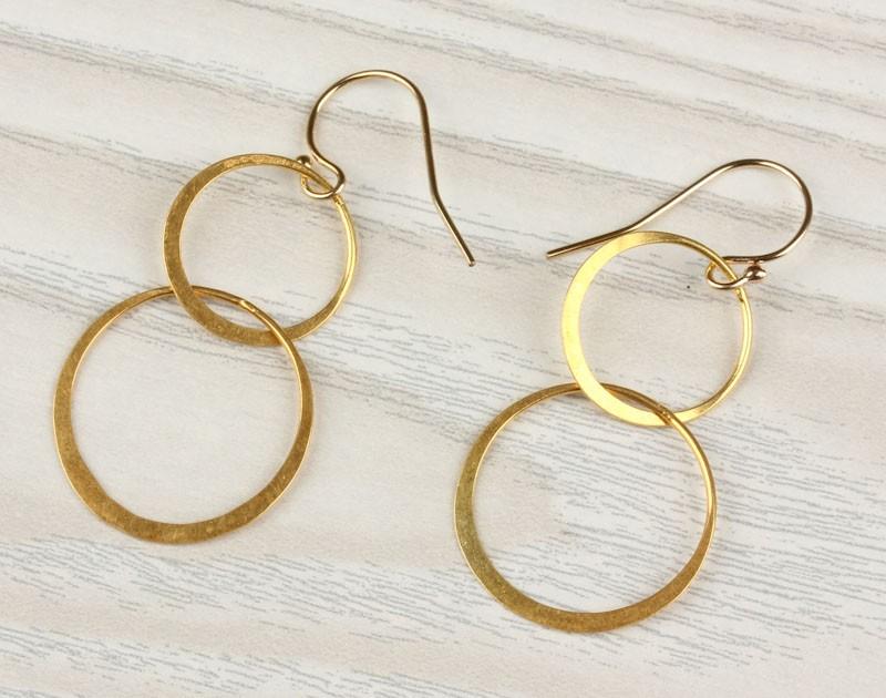 Double Circle Earrings Gold Dangled 14k Filled Minimalist
