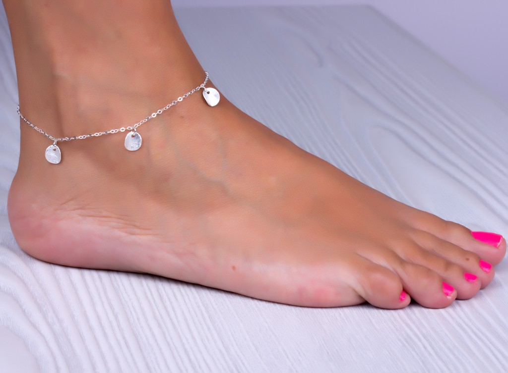 Silver Anklet Charm Disc Bracelet Bridesmaid Jewelry Sterling Ankle