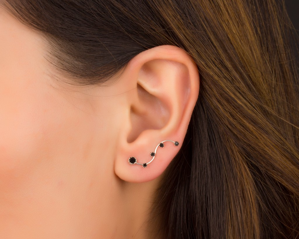 Black Ear Cuff Climber Earrings