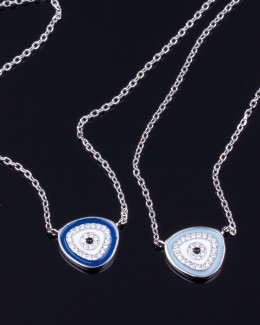 Silver Evil Eye Necklace • Sterling Silver Necklace