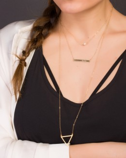 Long Gold Necklace • Triangle Necklace