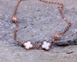Rose Gold Ankle Bracelet / Clover bracelet / Stainless Steel Jewelry/ Bridesmaid gift/Clover Jewelry /Beach Wedding/ Foot jewelry |Jacchus