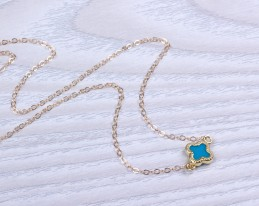 Lucky Ankle Bracelet / Gold Filled Anklet | Turquoise Clover