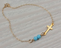 Cross Bracelet / Turquoise Bridesmaid Jewelry | Palisi