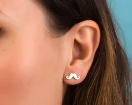 Stud Gold Earrings / Unusual Gold Earrings | Moustache
