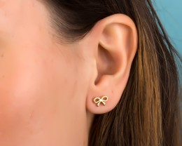 Stud Gold Handmade Earrings Everyday Tiny Bow