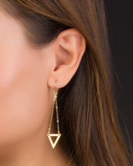 Gold Dangle Earrings  • Triangle Earrings