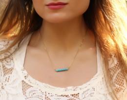 Turquoise Necklace, 14k Gold Filled / Gemstone Necklace, Beaded Necklace / Bridesmaid Necklace, Howlite Stone | Galene