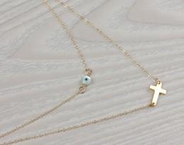 Evil Eye Cross Necklace / Layered Necklace | Hecate