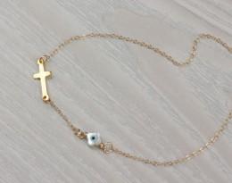 Evil Eye Necklace, Sideways Cross Necklace / Protection Necklace, Evil Eye Jewelry / Gold Necklace, Gold Cross Necklace |