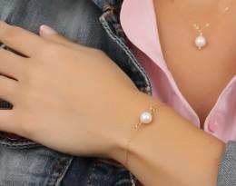 Bridal Bracelet / White Pearl Jewelry | Helie