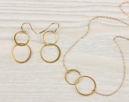 Gold Infinity Earrings / Long Earrings | Two Circles