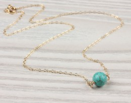 Turquoise Necklace, Gold Necklace / Turquoise And Gold, Bridesmaid Jewelry / Best Friend Necklace, Stone Necklace |