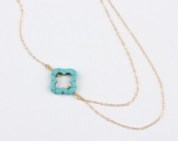 Turquoise Clover Necklace, Asymmetric Necklace / Gold Clover Necklace, Bridal Necklace / Layered Necklace |