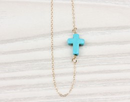 Turquoise Cross Necklace, Gold Sideways Cross Necklace / Asymmetric Necklace, Turquoise Jewelry / Best Friend Gift |
