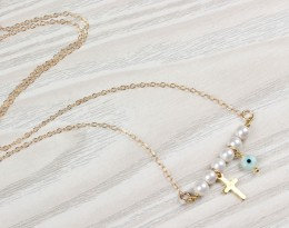 Evil Eye Necklace, Pearl Necklace / Gold Cross Necklace, Tiny Pearl Necklace / Gold Filled Necklace, Bridesmaid Jewelry |