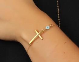 Large Cross Bracelet / Bracelet Charms Gold | Syrinx