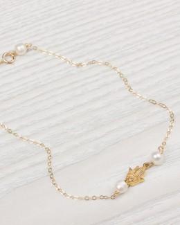 Freshwater Pearl Ankle Bracelet • Gold Hamsa Anklet