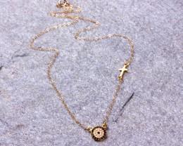 Sideways Cross Necklace / Evil Eye Necklace