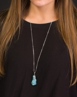 Long Turquoise Necklace • Raw Stone Necklace
