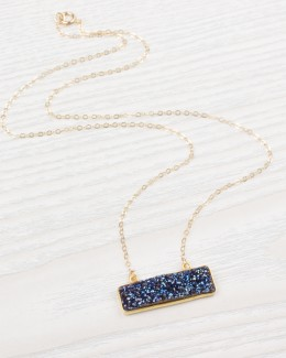 Layered Bar Necklace • Druzy Bar Necklace