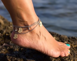 Layered Anklet, Boho Anklet / Beach Jewelry, Heart Anklet / Stainless Steel Anklet, Bridesmaid Gift /Foot Jewelry/ Summer Jewelry | Boukolai