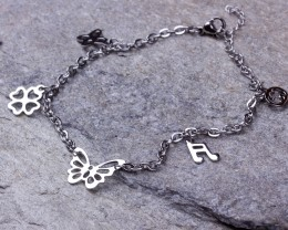 Anklets In Silver / Love Ankle Bracelets / Butterfly Anklet / Four Leaf Clover Bracelet / Silver Ankle Bracelet / Ankle Bracelets Silver | Jassion