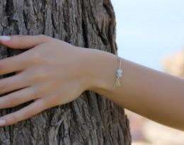 Aquamarine Silver Bracelet / Silver Heart Jewelry | Afrodite of Milos