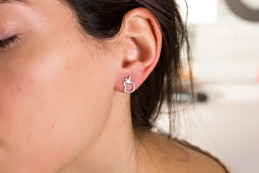 Modern Earrings / Silver Rose Gold Earrings | Metis